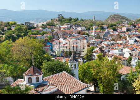 View from the ramparts of the ancient fortress on Nebet Hill in the old town in Plovdiv, the second largest city - Stock Photo