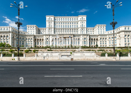 Palace of the Parliament in Bucharest, the capital of Romania. - Stock Photo