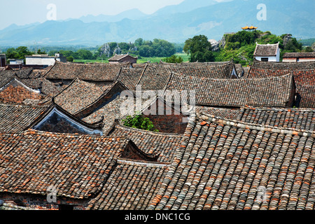 Roof tops of an ancient town in Hunan China - Stock Photo