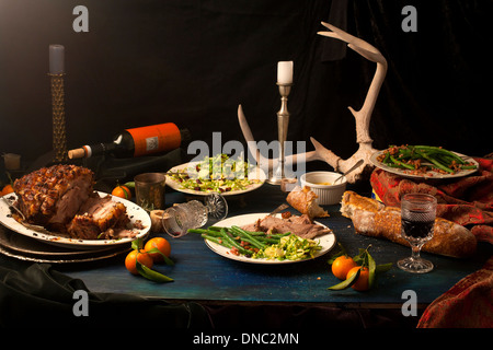 Pork roast after math dinner still life - Stock Photo