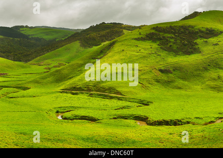 Dark clouds over Johanna Hills. - Stock Photo