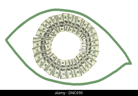 Money in a shape of eye - Stock Photo