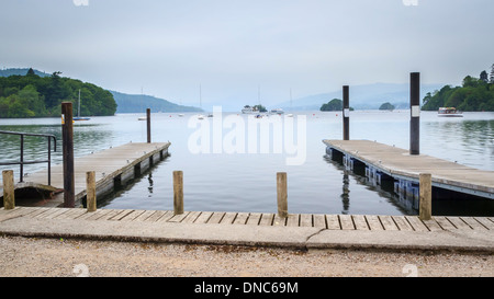 Jetties on Windermere in the English Lake District UK Europe - Stock Photo
