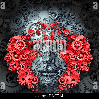Leadership and learning business and education concept with a group of human heads made from gears and cog wheels - Stock Photo