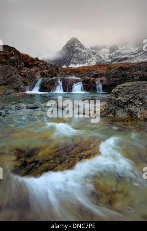 Fairy Pools in winter in Glen Brittle on the Isle of Skye in Scotland - Stock Photo