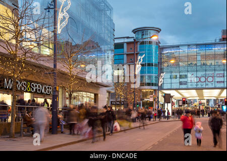 Manchester, UK. 22nd December, 2013. An external shot of Marks and Spencer and the Manchester Arndale shopping centre - Stock Photo
