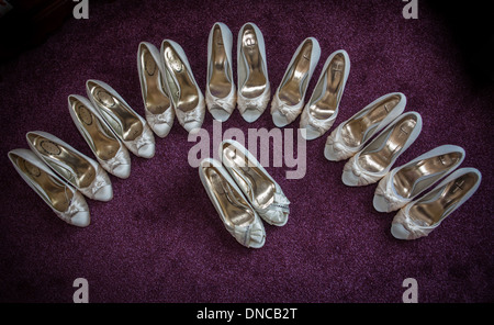 Bride and bridesmaids shoes - Stock Photo