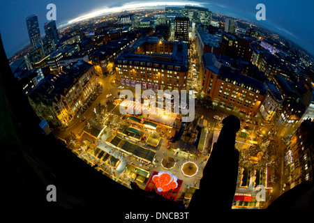 Manchester's German Christmas market in Albert Square UK - Stock Photo