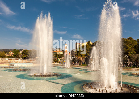 Place Massena fountains in the summer,Nice,Cote D'Azur,The French Riviera,France - Stock Photo