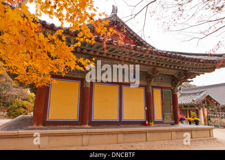 Fall color maple leaves in front of traditional Korean architecture (Hanok) - South Korea - Stock Photo