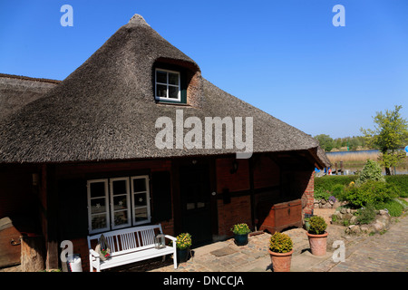 Fishing village Gothmund at river Trave, Schleswig-Holstein, Germany, Europe - Stock Photo