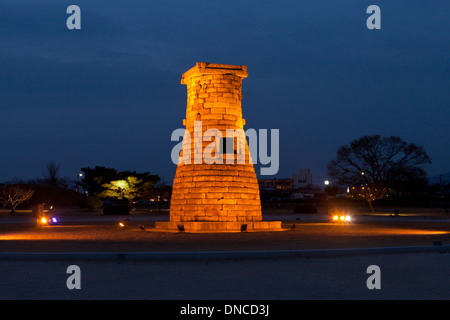 Cheomseongdae astronomical observatory, UNESCO World Heritage site, by night - Gyeongju, South Korea - Stock Photo