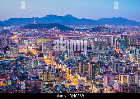 Seoul, South Korea city skyline nighttime skyline. - Stock Photo