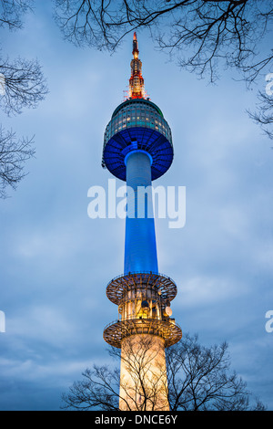 N Seoul Tower in on Namsan Mountain in Seoul, South Korea. - Stock Photo