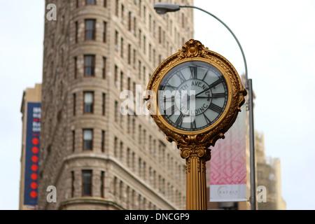 Fifth Avenue Building Clock, NYC. - Stock Photo