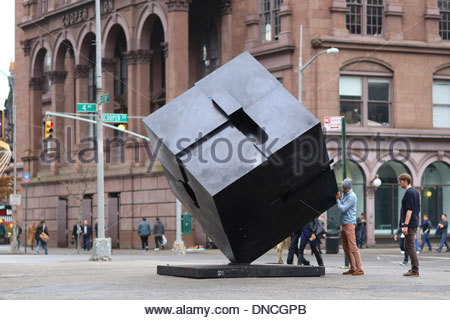 The Alamo cube sculpture by Tony Rosenthal at Astor Place. - Stock Photo