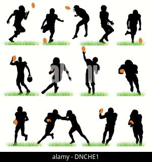 American Football players silhouettes set - Stock Photo