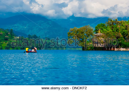 Tal Barahi Temple, on a small island in Phewa Lake, Pokhara, Nepal. - Stock Photo