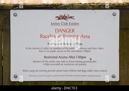 Warning sign on the Newmarket Training Grounds 'The Gallops' - Stock Photo