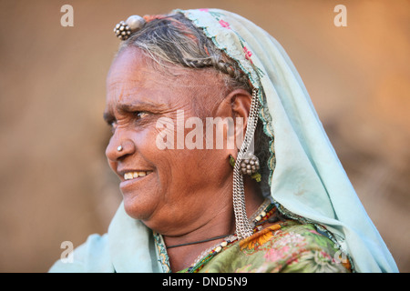 Close-up of tribal woman wearing ornaments, Madhya Pradesh, India. Bhil tribe. - Stock Photo