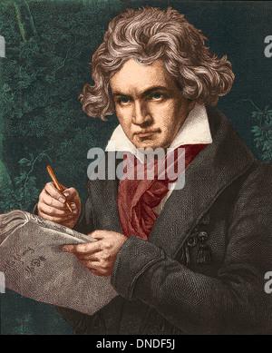Portrait of German composer Ludwig van Beethoven, 1770-1827. - Stock Photo
