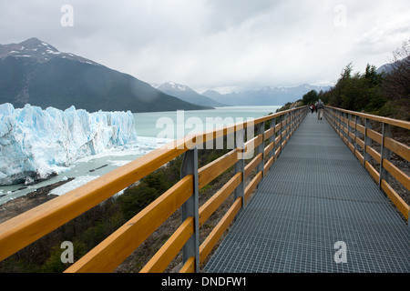 Hiking on Bridge, Perito Moreno Glacier Los Glaciares National Park Argentina - Stock Photo