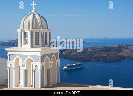 SANTORINI (THIRA), CYCLADES, GREECE. A view from the hilltop village of Firostephani near Fira. 2013. - Stock Photo
