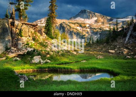 Small pond reflecting Eagle Cap Mountain. Eagle Cap wilderness, Oregon - Stock Photo