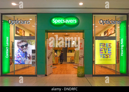 Specsavers Opticians shop front in shopping Mall - Stock Photo