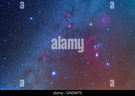 Orion and the Winter Triangle stars. - Stock Photo