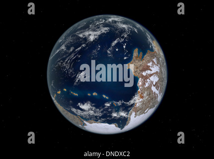Planet Earth 600 million years ago following the Cryogenian period. - Stock Photo