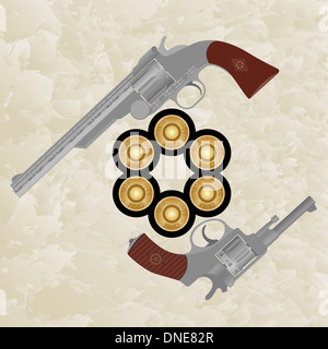 Six pistol cartridges and old firearms. The illustration on a white background. - Stock Photo