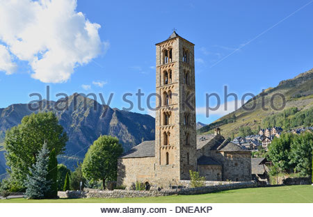 Belfry and church of Sant Climent de Taull, Lleida, Catalonia, Spain. - Stock Photo
