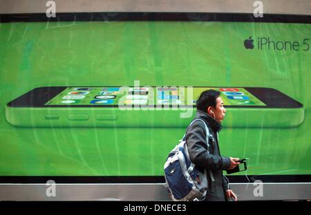 Beijing, CHINA, China. 8th Dec, 2013. Apple's new iPhone 5C is promoted on the streets of Beijing on December 8, - Stock Photo