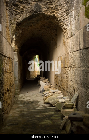 The corridor of the amphitheater of the ruins of the ancient Roman city of Italica, Santiponce,Seville province,Andalusia,Spain - Stock Photo