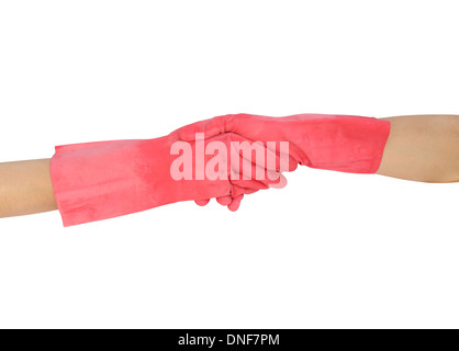hand shake in a rubber gloves isolated on white background (with clipping path) - Stock Photo