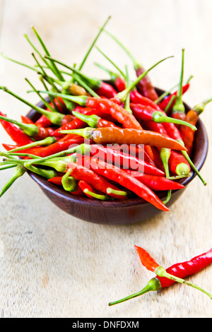 Fresh Bird's eye chili in a small wooden bowl - Stock Photo