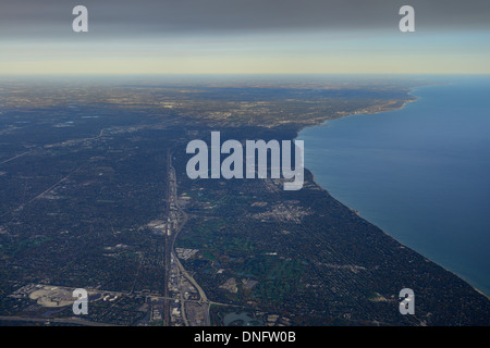 Aerial view of Lake Michigan North Chicago Skokie Highway from Northbrook Court and Sunset Valley Golf Club - Stock Photo