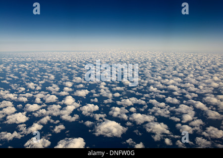 Aerial view of popcorn cumulus clouds over Lake Michigan - Stock Photo