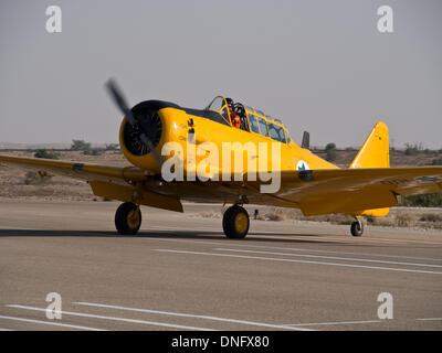 Hazerim, Israel. 26th Dec, 2013. Israel Air Force historical Harvard aircraft prepares for takeoff in a Israel Air - Stock Photo