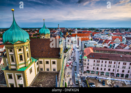 Augsburg, Germany city center aerial view. - Stock Photo