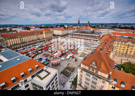 Dresden, Germany cityscape at Altmart Square. - Stock Photo