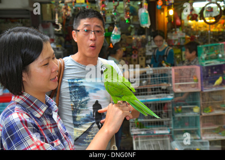 China, Hong Kong, HK, Asia, Chinese, Oriental, Kowloon, Prince Edward, Yuen Po Street, Bird Garden Market, vendor - Stock Photo