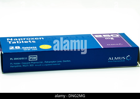 Naproxen 250mg enteric coated tablets a non-steroidal anti-inflammatory drug (NSAID) cutout cut out white background - Stock Photo