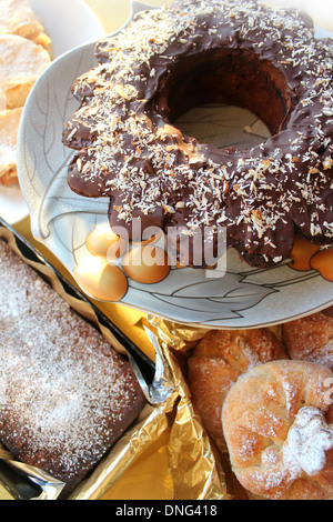 many different kinds of dessert - Stock Photo