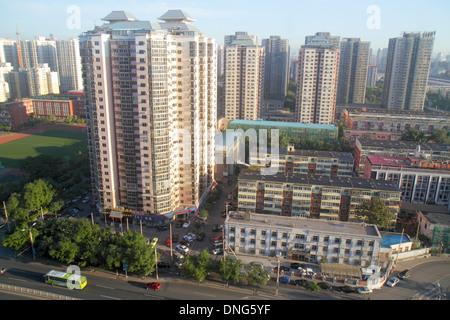 Beijing China Xicheng District Guang An Men Nei Da Jie Guanganmen Outer Street aerial traffic residential apartment - Stock Photo