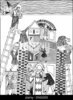 The Tower of Babel, from an illustrated Anglo Saxon manuscript of Ælfric of Eynsham, c. 955 – c. 1010, an English - Stock Photo