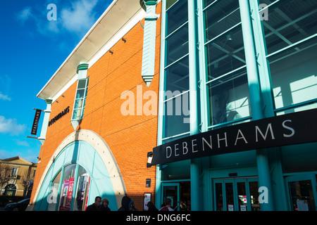 Debenhams Department Dept shop outside sign entrance front facade Lincolnshire, Lincoln City, Lincolnshire, UK, - Stock Photo