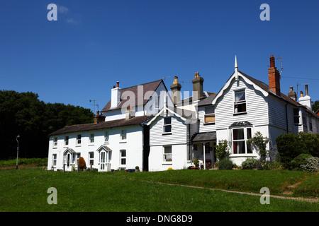 Quaint white painted cottages on Southborough Common, near Tunbridge Wells , Kent , England - Stock Photo