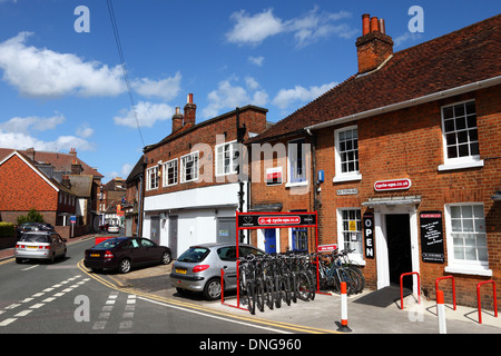 Cycle-Ops bike hire shop on typical street, Tonbridge, Kent , England - Stock Photo
